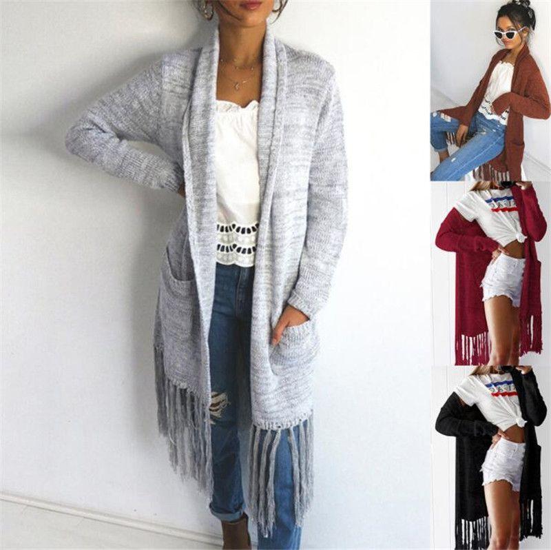2019 Autumn Winter Fashion Women Long Sleeve Loose Tassel Knitting ... f517d3ebcbca
