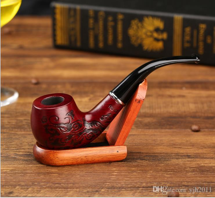 Red carved solid wood pipe Acrylic curved handle male wooden pipe gift box