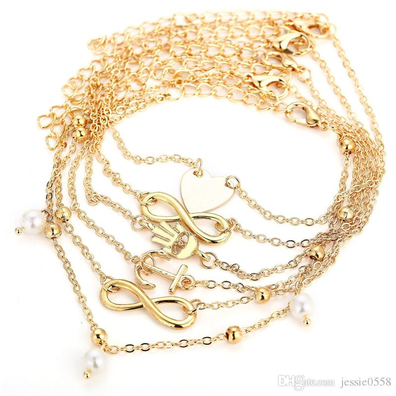 Fashion 5 Pieces Heart Anchor Palm Artificial Pearl Alloy Anklets Barefoot Sandals Gold Chain for Ladies