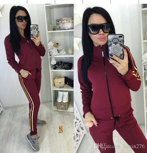 Damen Sport Anzüge Trainingsanzug Damen Sweatshirt und Jogger Sets Herbst Winter zweiteilige Sets Damen Jacke Mantel + Hose