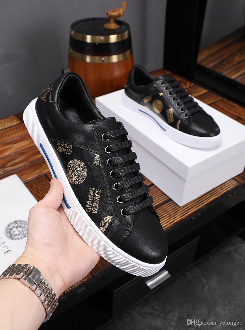 2019 spring new sports shoes, trend men s laces low shoes leather casual  shoes running shoes, original box delivery 38-44