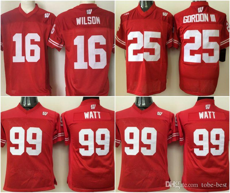 new arrival a1d79 40025 Youth Wisconsin Badgers Jerseys #99 J.J. Watt #16 Russell WILSON #25 Melvin  Gordon College Football Jerseys