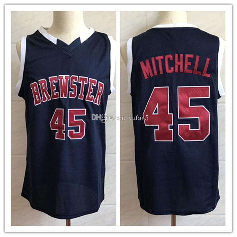 best quality 2d11b fdf2d Brewster Academy High School #45 Donovan Mitchell Navy blue Retro  Basketball Jersey Mens Stitched Custom Number and name Jerseys