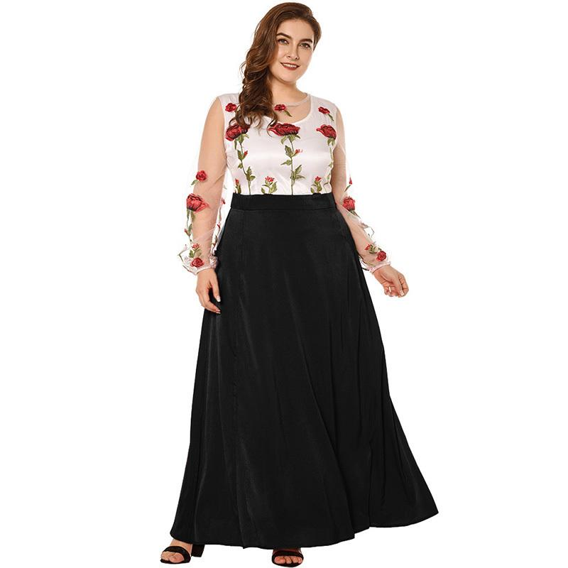 e86ae34f16bd1e 2019 New Sexy Women Plus Size Maxi Dress Floral Embroidery Sheer Mesh  Splice Big Size Dress Long Sleeve Slim Elegant Long Dress Black And White  Cocktail ...