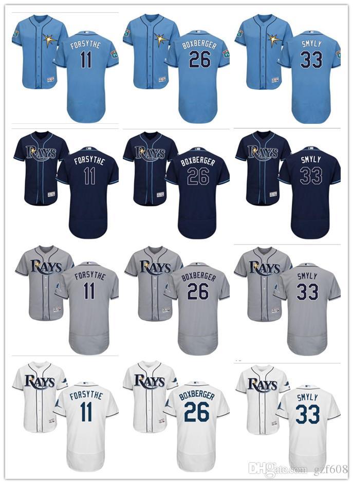 new arrivals c9a13 65303 custom Men's women youth Tampa Bay Rays Jersey #26 Brad Boxberger 11 Logan  Forsythe 33 Drew Smyly Home Blue Grey Baseball Jerseys