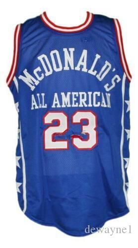 separation shoes 75f47 ccfcc McDonald s All American #23 Michael MJ Blue Retro Basketball Jersey  McDonald Mens Stitched Custom Any Number Name Jerseys