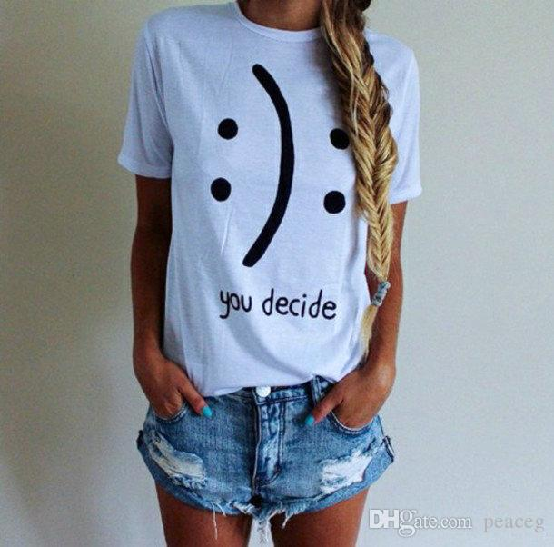 42bd0444f15ae2 You Decide T Shirt Smile Face Words Short Sleeve Cool Letters Tees Leisure  Unisex Clothing Pure Color Cotton Tshirt Designer White T Shirt Printed T  Shirts ...
