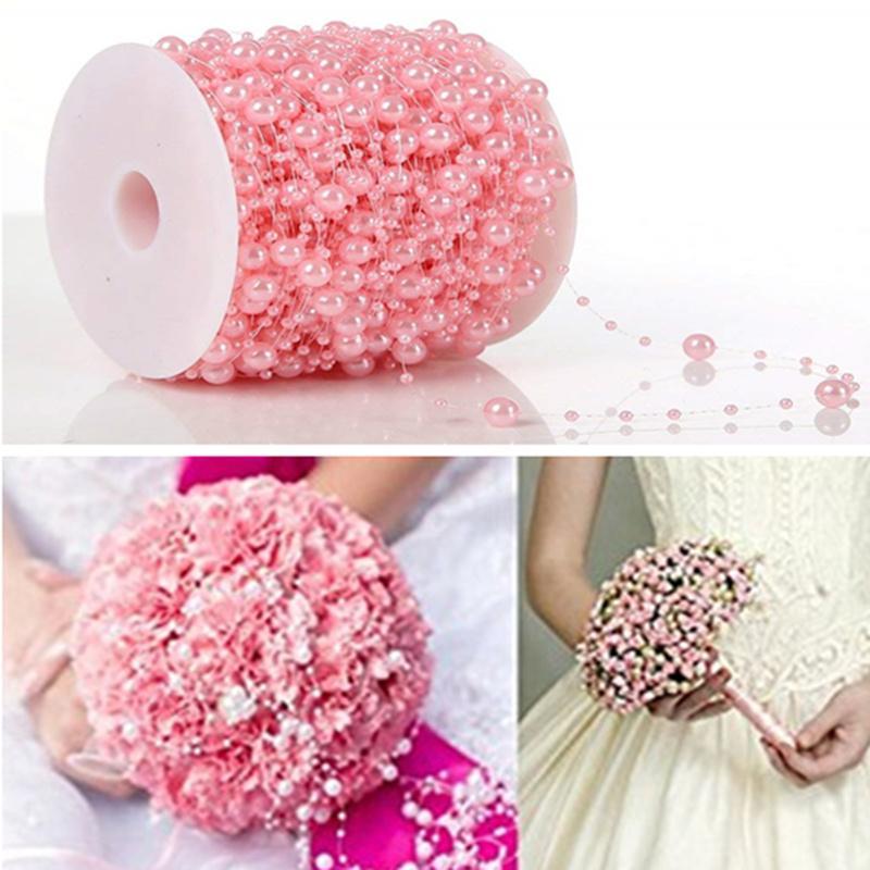 Heißer verkauf 8 + 3mm Angelschnur Künstliche Perlen Perlen Kette String Garland Blumen DIY Hochzeit Dekoration 5BB5600
