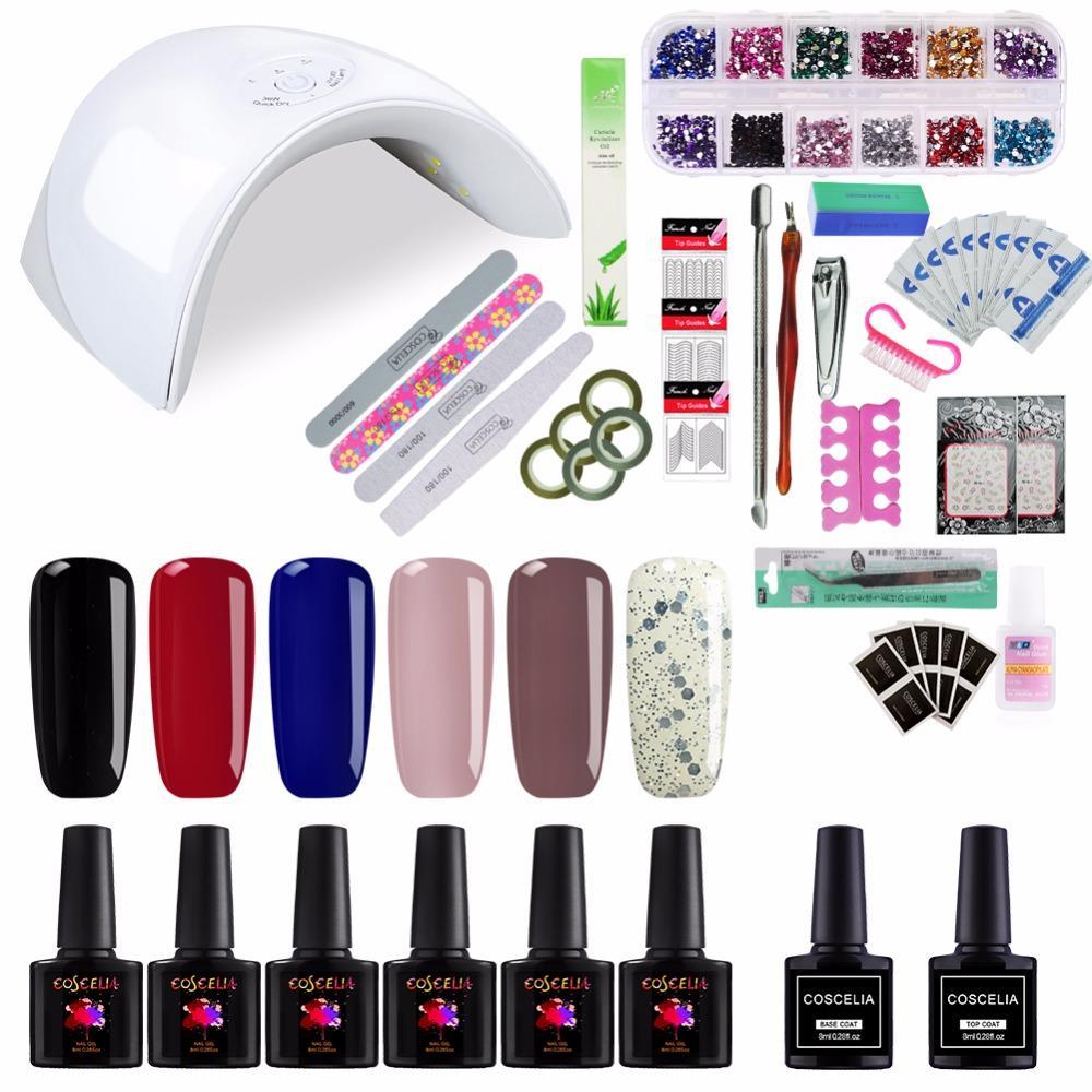 Pro Manicure Set 36W UV LED Lamp Gel Nail Polish Top And Base Coat ...