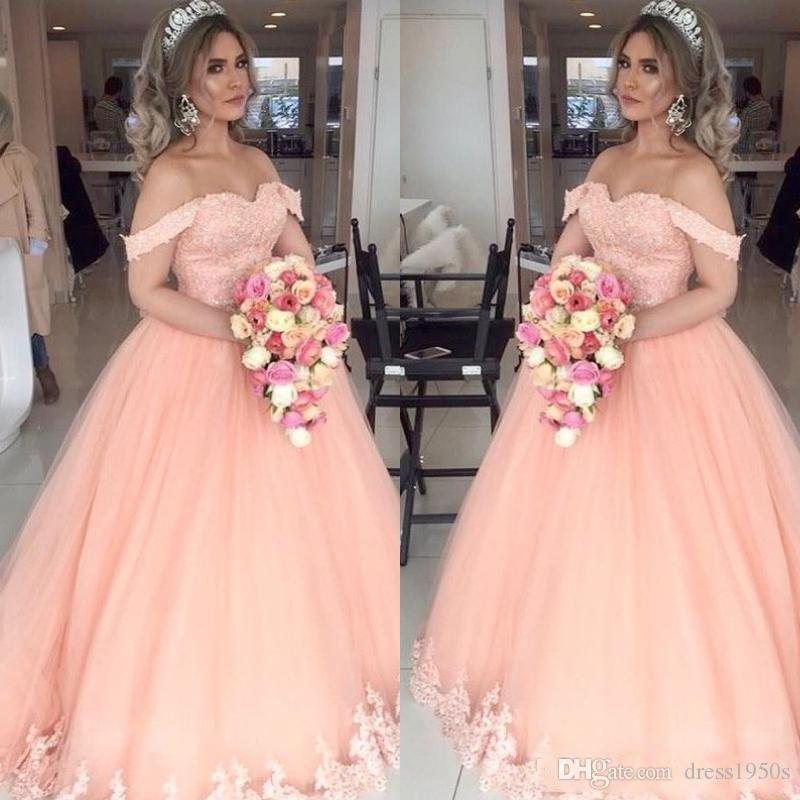 2019 Peach Quinceanera Dresses Off Shoulder Appliques Beads Ball Gown Tulle 16 Sweet Girl Prom Dresses Party Gowns Custom Made