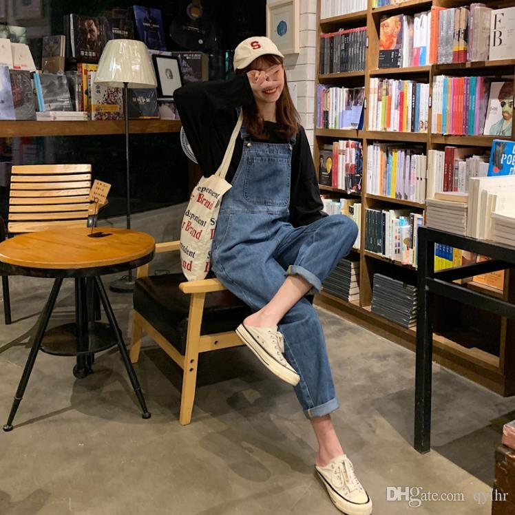 Spring and autumn new tide denim bib female loose small tall waist age nine points jumpsuit
