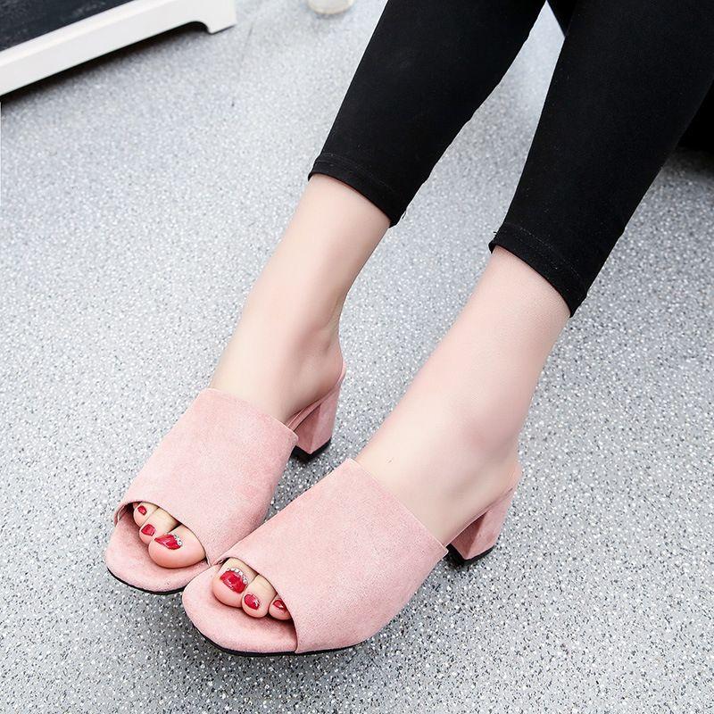 ea4d84886 Women Sandals Summer Open Peep Toe Women'S Sandals Low Block Heel 5.5 Cm Women  Shoes Khaki Black Gladiator Shoes Size 35 39 Shoes Online Basketball Shoes  ...
