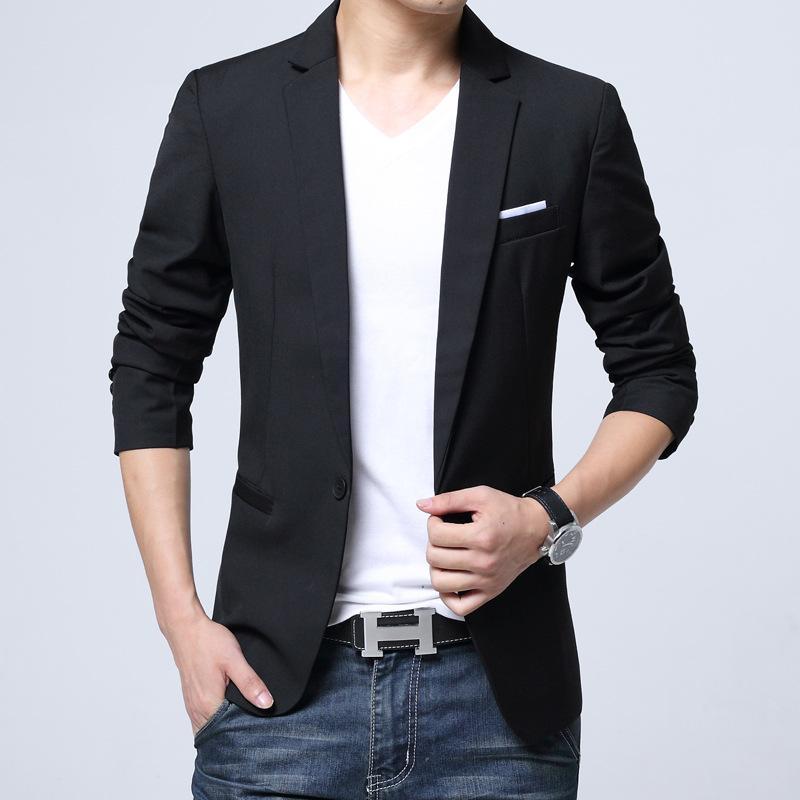 f12f2193e56 2019 One Button Men S Casual Blazer Korea Slim Fit Men S Suit Jacket Casual Business  Suit Plus Size 5XL Men Outerwear Male FS 165 From Lbdapparel