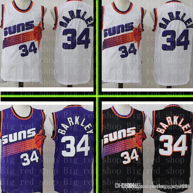 a52ab3bfd478 2019 Suns Charles 34 Barkley Retro Mesh Jersey Mens Phoenix Sun Basketball Jerseys  Black Purple White S XXL From Flyingjersey88