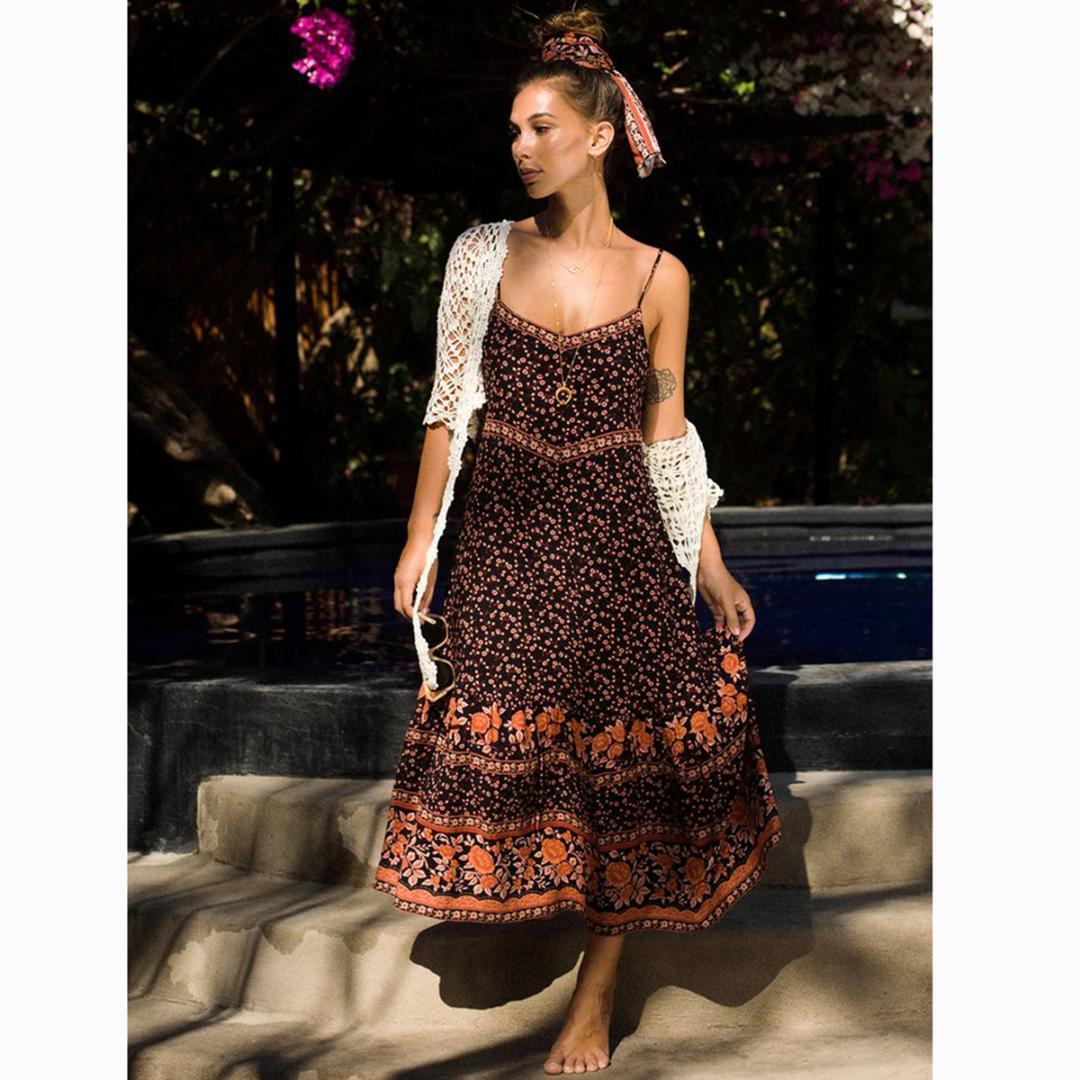 d392cfe40fd7 Jastie Long Boho Dress 2019 Summer Plum Floral Print Dresses Sleeveless  Strap Sexy V Neck Dress Hippie Boho Women Vestidos Striped Summer Dresses  Sun ...