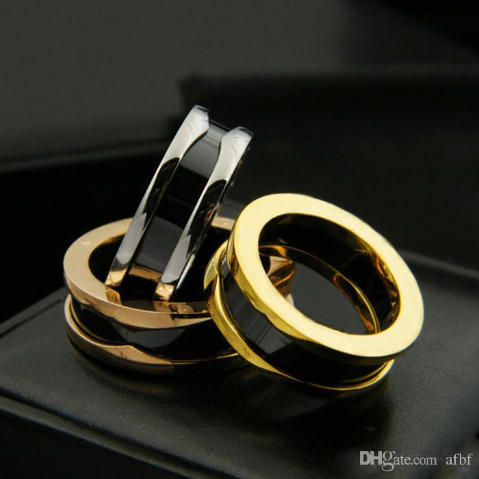 Black/White/ Pink Narrow Ceramic Rings,Yellow Gold/ Rose Gold/Platinum Plated Stainless Steel rings for Women/Men Fashion Jewelry