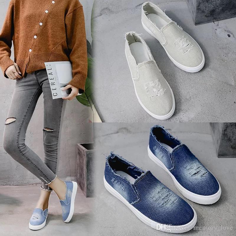 Washed Hole Flats Denim Loafers Slip-on Hole Flats for girls Women High Quality Canvas Shoes New Arrival Casual Shoes