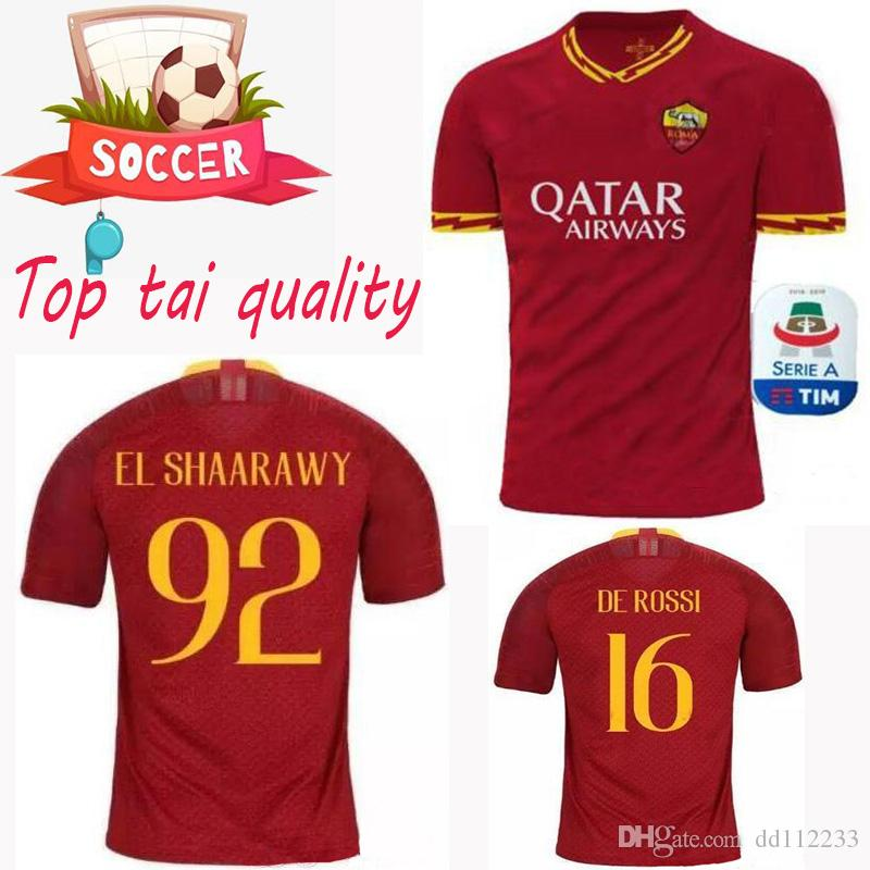 3ba7a49ef Newest Thai Quality 2019 2020 ROMA Jersey 19 20 Rome Home TOTTI DE ROSSI  DZEKO SOCCER JERSEYS EL SHAARAWY PASTORE AS Football Shirt 2020 Online with  ...