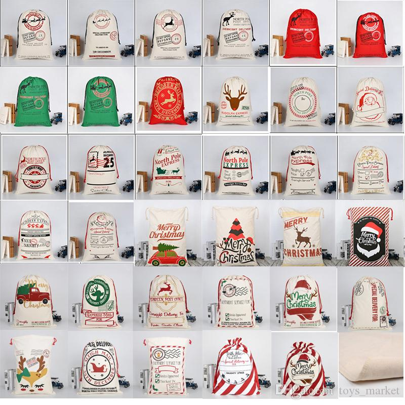 2019 Christmas Large Canvas Monogrammable Santa Claus Drawstring Bag With Reindeers Monogramable Christmas Gifts Sack Bags