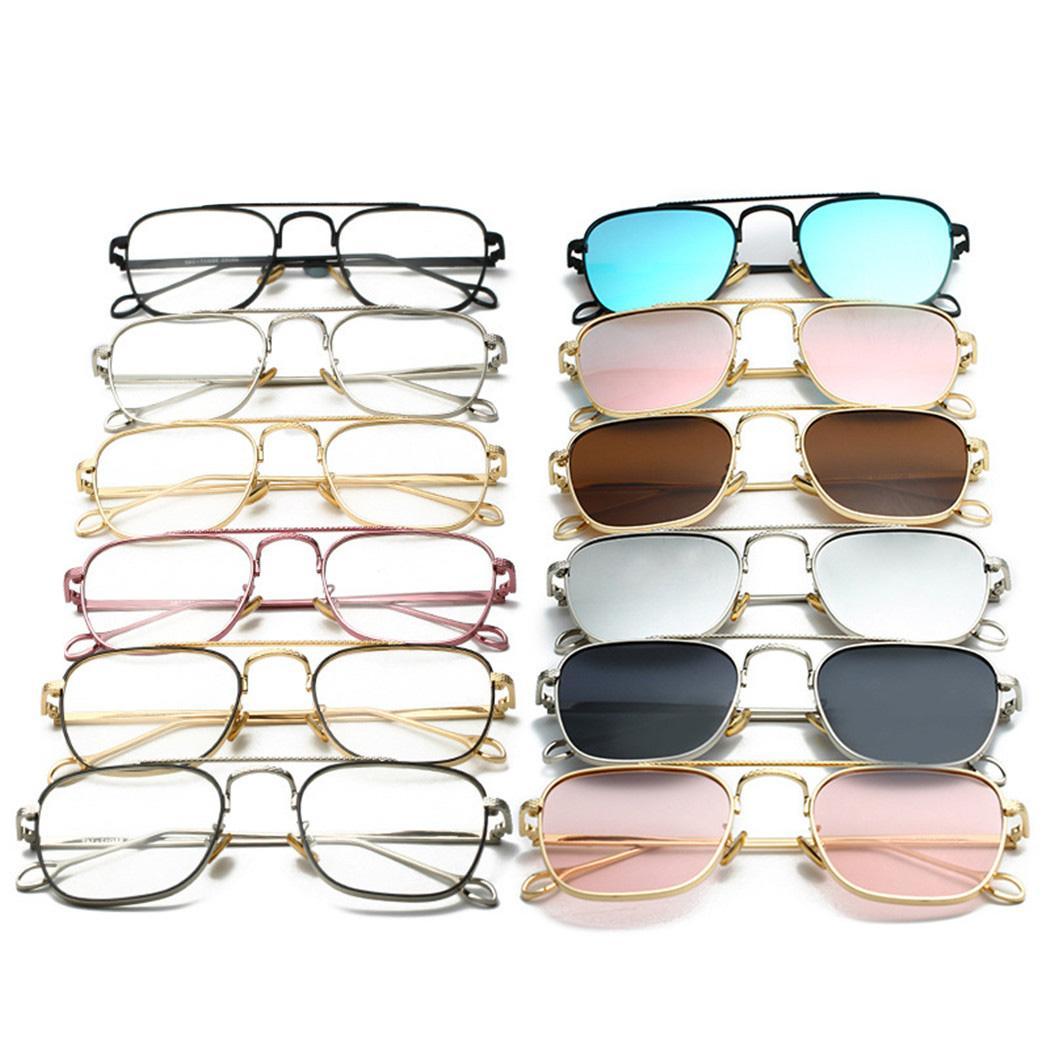 68577a864d 2019 Vintage Rectangle Rose Gold Mirror Sunglasses For Women Brand Designer  Metal Reflective Flat Lens Sun Glasses Female Oculos Prescription Glasses  ...