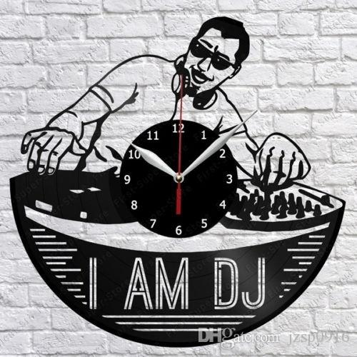 I Am DJ Vinyl Record Wall Clock Fan Art Home Decor Handmade Art Personality Gift (Size: 12 inches, Color: Black)