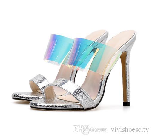 New colorful blue silver sandals high heels slipper luxury designer women shoes size 35 To 40