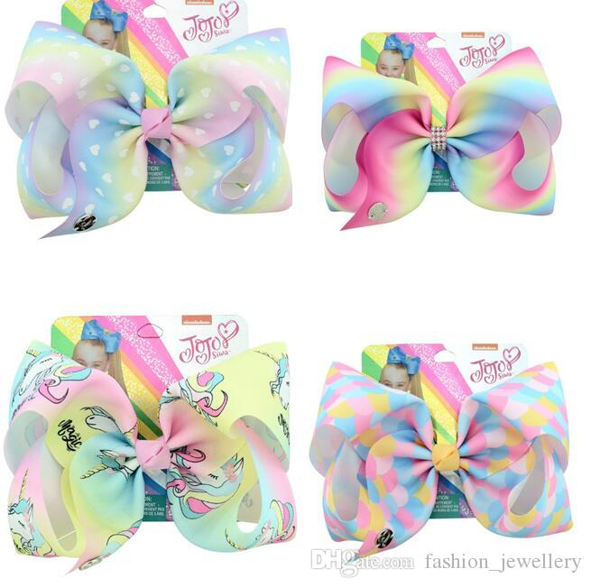 "Sale 8 Inch""jojo Girls Siwa Unicorn Collection Coral Colorful Hairpin Large Hair Bows Hair Accessories For Girls 8 PCS"