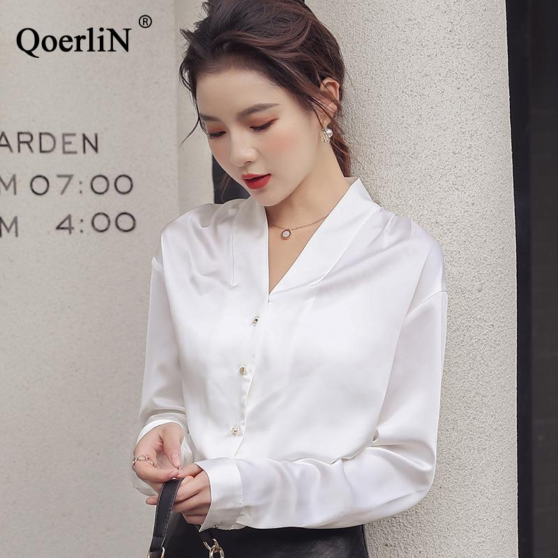 76c933f41bb QoerliN Sexy V-neck Vintage Satin Silk 2019 Spring New Shirt Temperament  Long Sleeve White Shirt Plus Size OL Work Blouse Tops Blouses   Shirts  Cheap ...