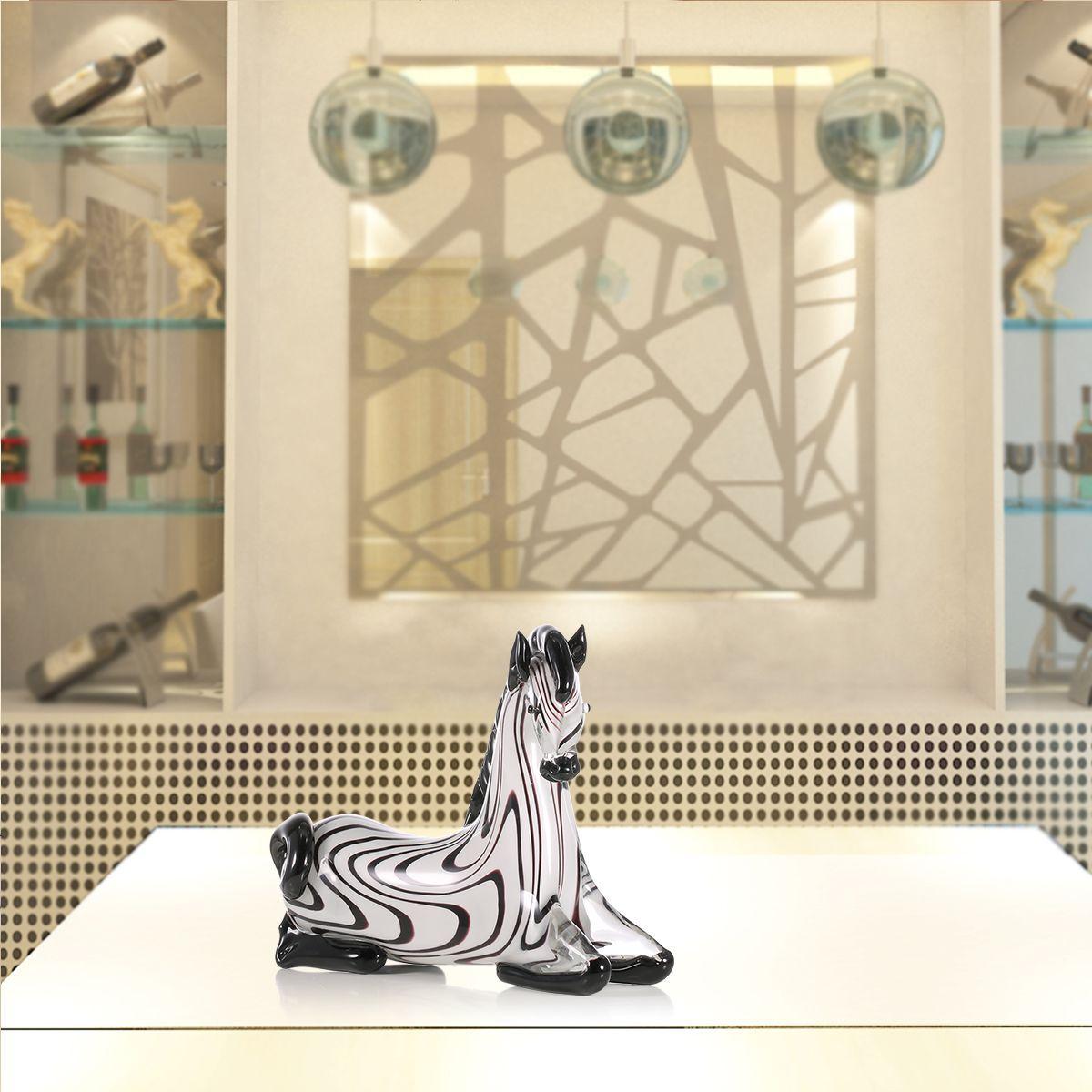 Fantastic Kneeling Glass Zebra Sculpture Gift Glass