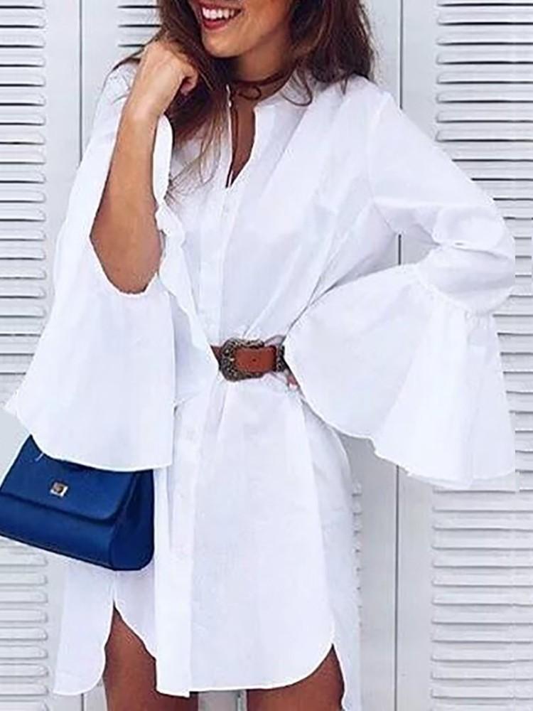 2018 New Long Shirts Women Ruffle White Shirt Women Fashion Tops Autumn Ladies Elegant Lapel Long Sleeve High Low Blouse