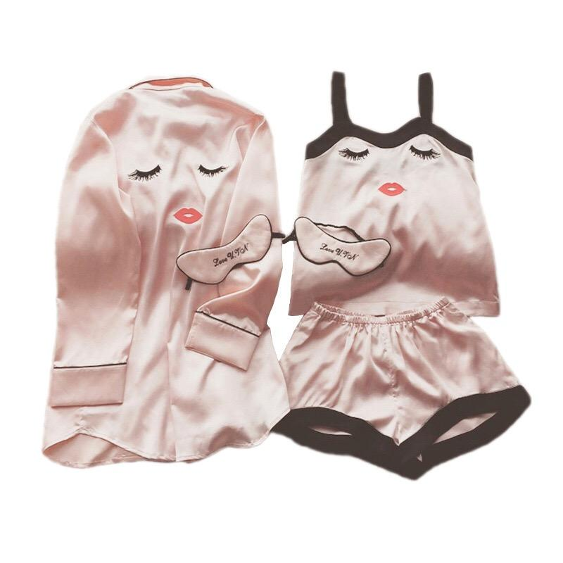 78bb8c10b 2019 Pink Pajamas Of The Best Shorts Suit Eye Mask Sleeping Clothes M XL  Size From Jiguan