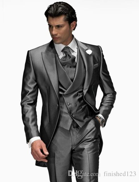 New Arrival One Button Shiny Grey Groom Tuxedos Peak Lapel Groomsmen Men Wedding Party Suits (Jacket+Pants+Vest+Tie) NO:2175
