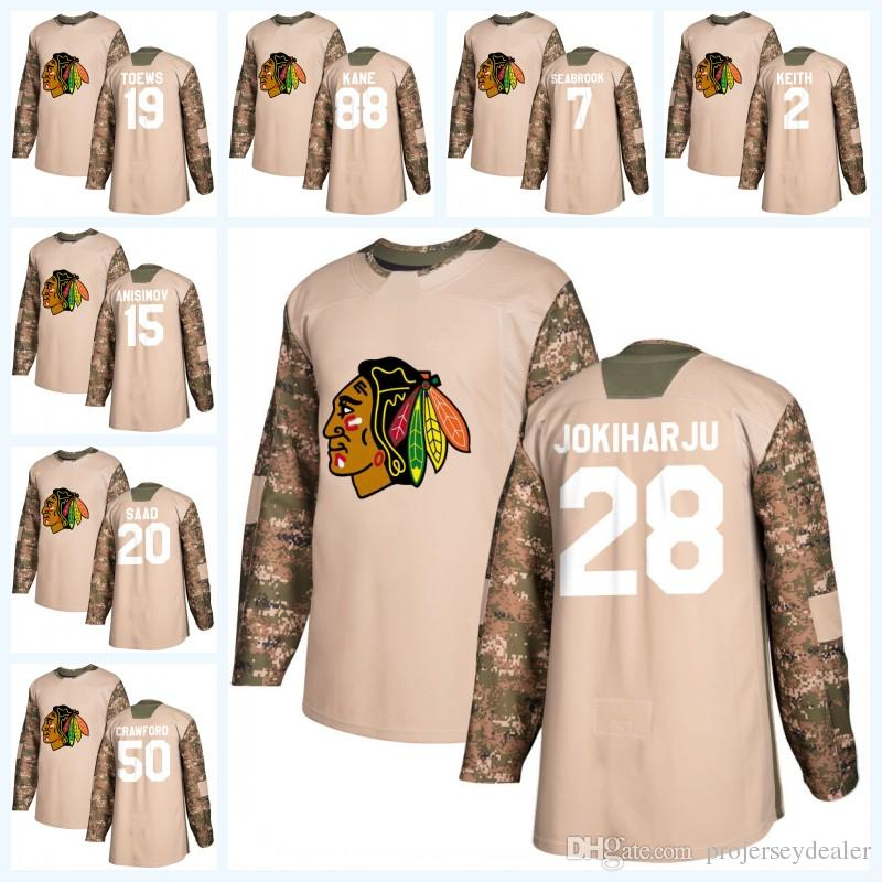 903addb63 2019 Youth 2 Duncan Keith Chicago Blackhawks Camo Veterans Day Jonathan  Toews Corey Crawford Patrick Kane Artem Anisimov Saad Hockey Jersey From ...