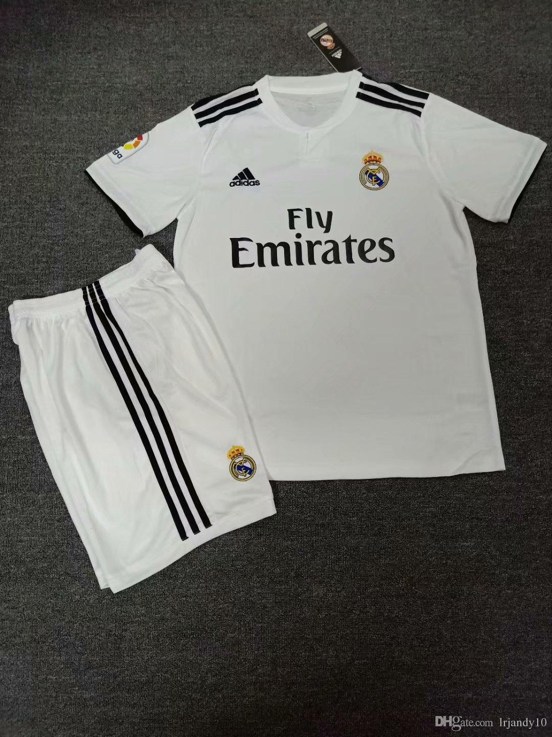a6d9f17cc 2019 2018 2019 Kids Kit Real Madrid Soccer Jersey 18 19 Youth Boy Child  BALE Modric Kroos BENZEMA ISCO Home Away Jersey 3 12T With Sock From  Lrjandy10
