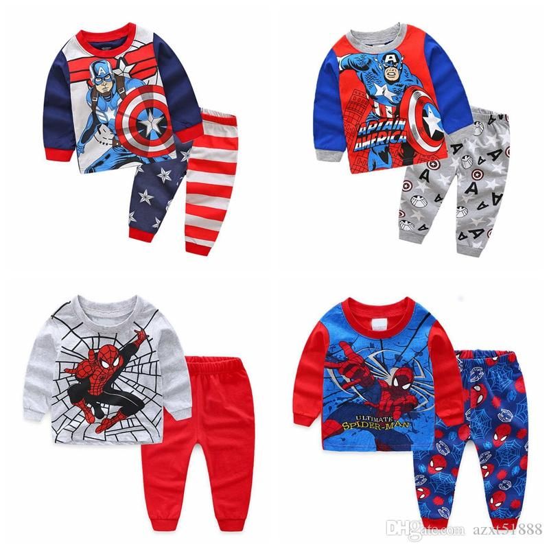 Children Pijamas Infantis Pajamas For Kids New Clothes Baby Boy Pajamas Free Shipping Cotton Clothing Avengers Captain America