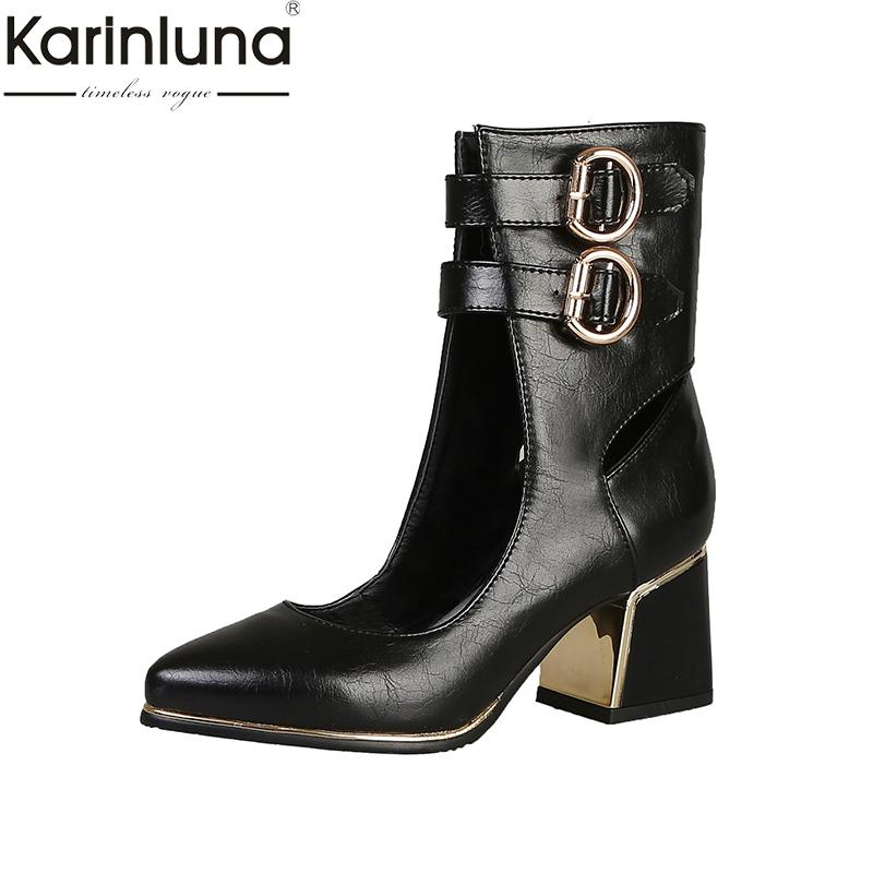 84098bb6a Karinluna Chunky Heels 2019 Brand New Plus Size 48 Sweet Women S Pumps Sexy  Chic Style Party Women S Hoes Boots For Men Girls Boots From Backyar