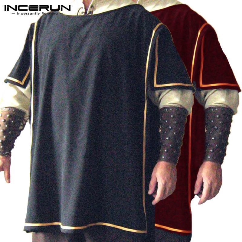 Brand Renaissance Heraldry Surcoat Short Sleeve Vikings Costume Men Dress  Medieval Knight Tabard Cotton Tunic Big Male Surcoats