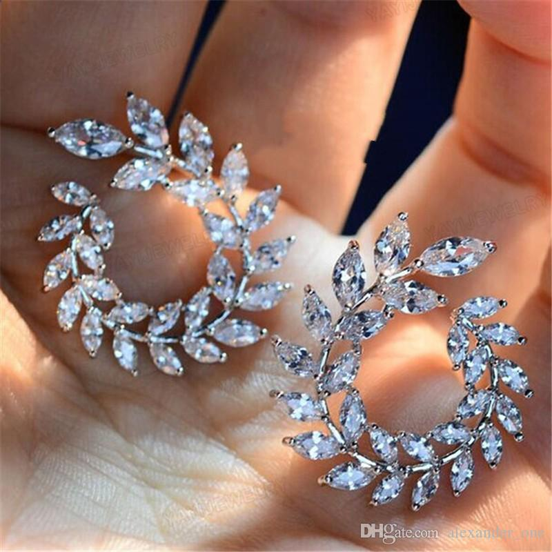 64b79c4ba 2019 New Design Sparkly Olive Branch Leaf Shape Marquise Cut Big Cubic  Zirconia Stud Earrings For Women Fine 925 Silver Jewelry From Pay4u, $25.13  | DHgate.