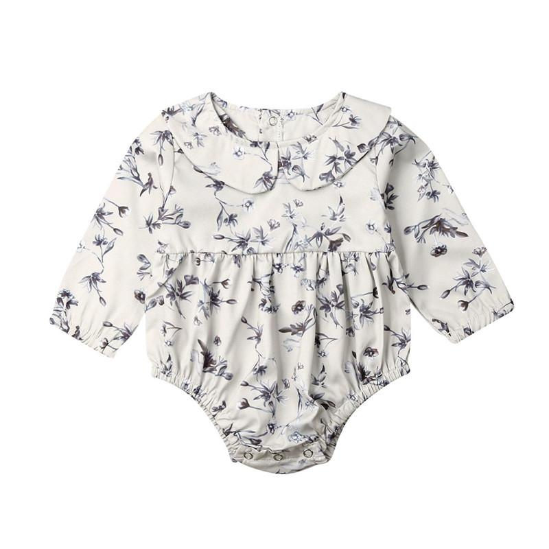 0-18M Newborn Kid Baby Girl Floral Bodysuit Elegant Long Sleeve Cotton Body Top Ctue Sweet Lovely Outfits