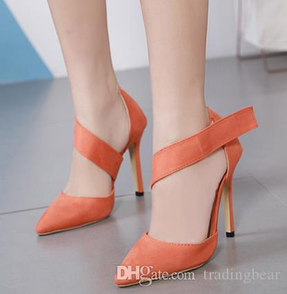 7e7d791c72a 2019 Fashion Orange Pointed Toe High Heel Shoes Women Designer Pumps  Synthetic Suede Size 35 to 40 Designer Shoes Womens High Heels Shoes Shoes  Women High ...