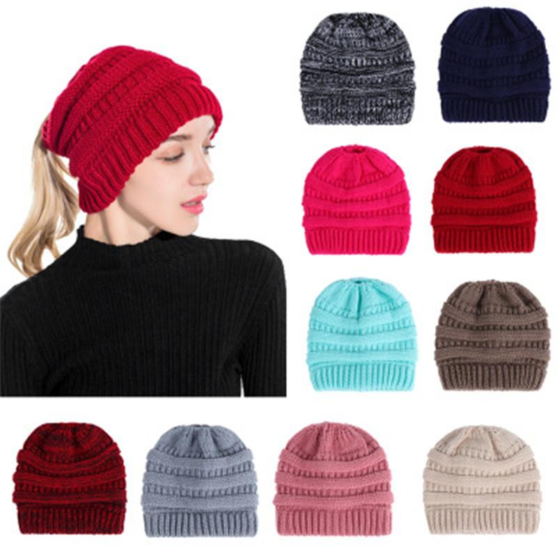 49e0b0e48e6 New Beanie Women Cap Hat Skully Trendy Warm Chunky Soft Stretch Cable Knit  Slouchy Beanie Winter Hats Ski Cap MARK012 Crochet Hats Headwear From ...