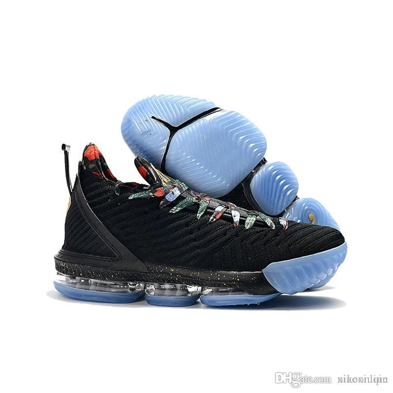 best sneakers 4638f d7727 Women lebron 16 basketball shoes Throne Black Gold Crown MVP Red Blue boys  girls youth kids lebrons sneakers tennis with box size 5 12