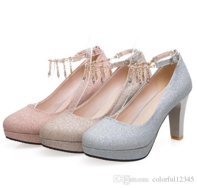 Plus size 35 to 46 Glitter rhinestone chain thick high heels wedding ashoes gold silver pink sexy women shoes
