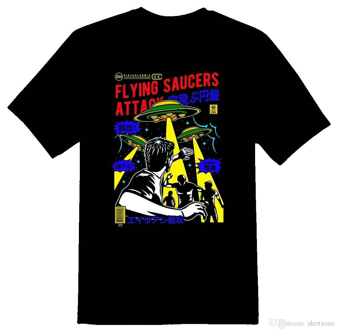 Flying Saucers Attack Vintage Wholesale Or White T Shirt Men Man'S Swag  Short Sleeve Fashion Custom 3XL Party T Shirts Funky T Shirts For Women T  Shirt ...