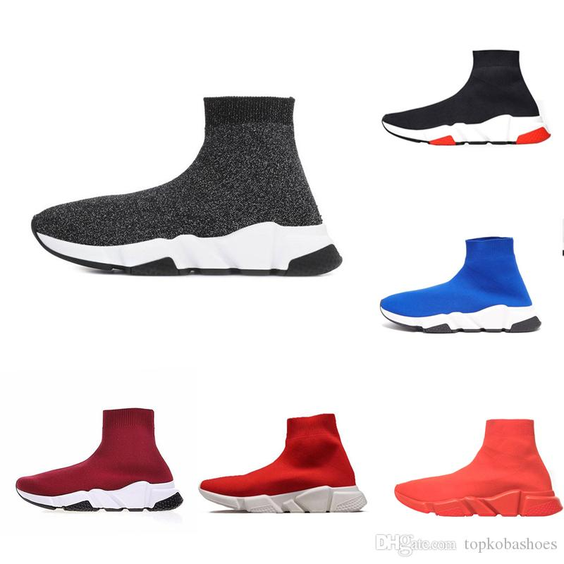 Designer Men Shoes Speed Trainer Black Red Oreo Triple Black Fashion Flat Sock Boots Casual Shoes Speed Trainer Runner size 36-45