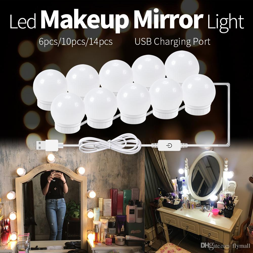 Led Lamps Makeup Vanity Table Led Mirror Light 12w 16w 20w Hollywood Wall Lamp Dressing Mirror Led Make Up Light Bulb Stepless Dimmable