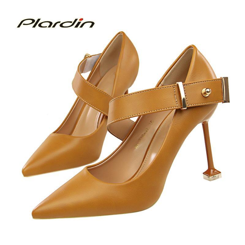 986e53ccca45c Compre Vestido Plardin Mujer Moda Fiesta Mujer Zapatos Mujer Tacón Alto  Hebilla Correa Decoración De Metal Tacones Finos Con Bombas De Una Palabra  Para ...