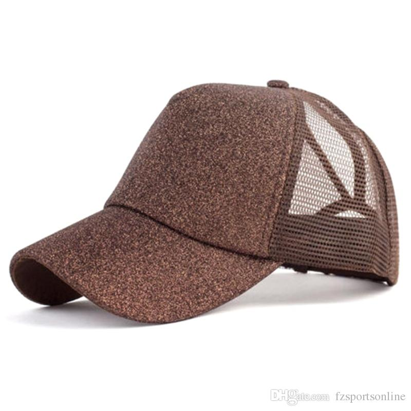 7e101af7a24fcd 2019 2018 Glitter Ponytail Baseball Cap Women Snapback Hat Summer Messy Bun Mesh  Hats Casual Adjustable Sport Caps Drop Shipping #220168 From Fzsportsonline  ...