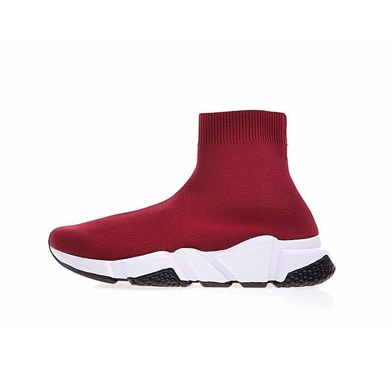 New Designer fashion boot for women & men Speed Trainer Red Triple Black Flat casual shoes Sock Boot mens Sneaker shoe free shipping A063