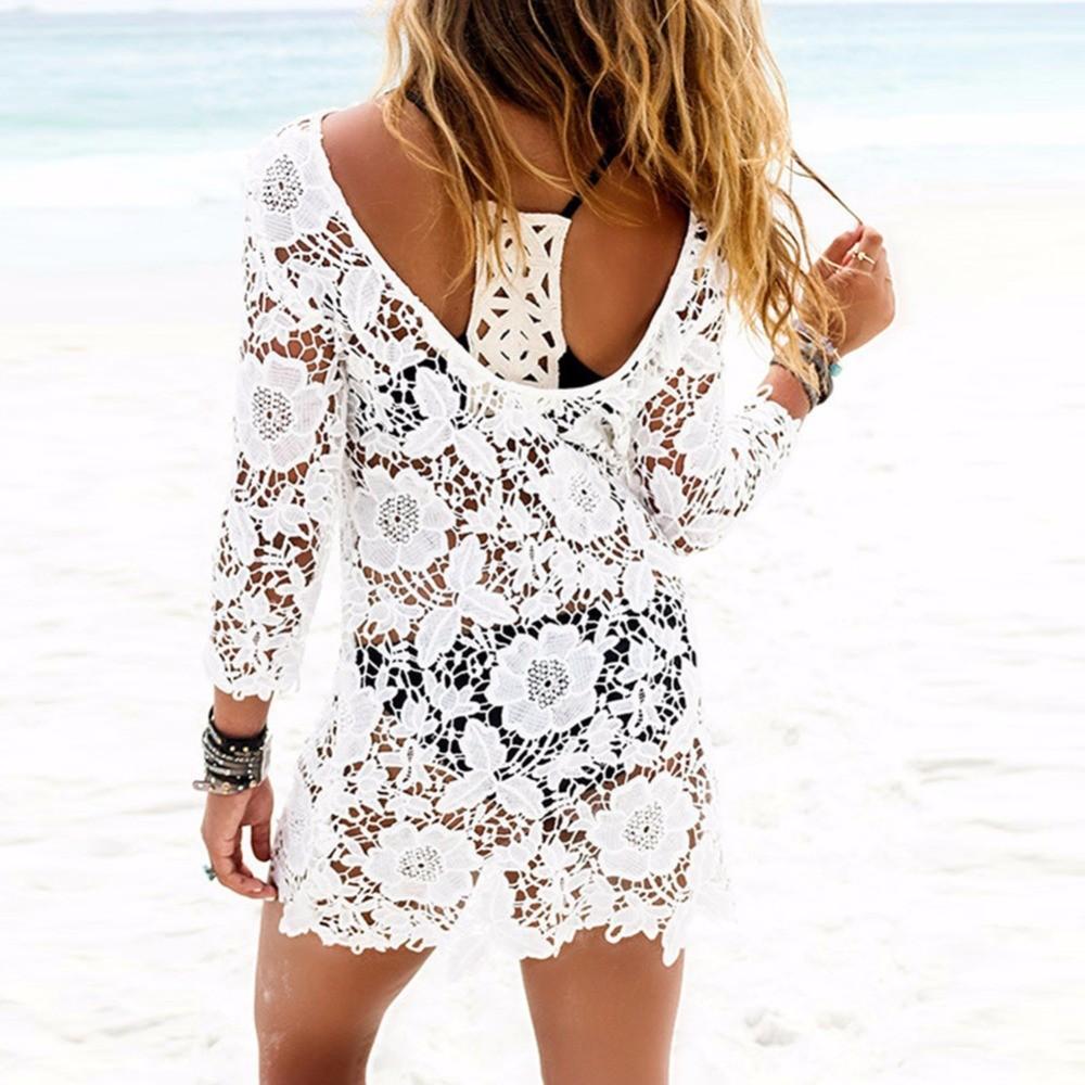 Sexy Verão Swimwear Mulheres Maiô Lace Crochet Bikini Cover Up Swimwear Praia Branco Vestido de Desgaste Da Praia 2018 Novo